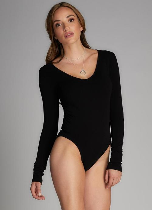 Black Bamboo V Neck Body Suit