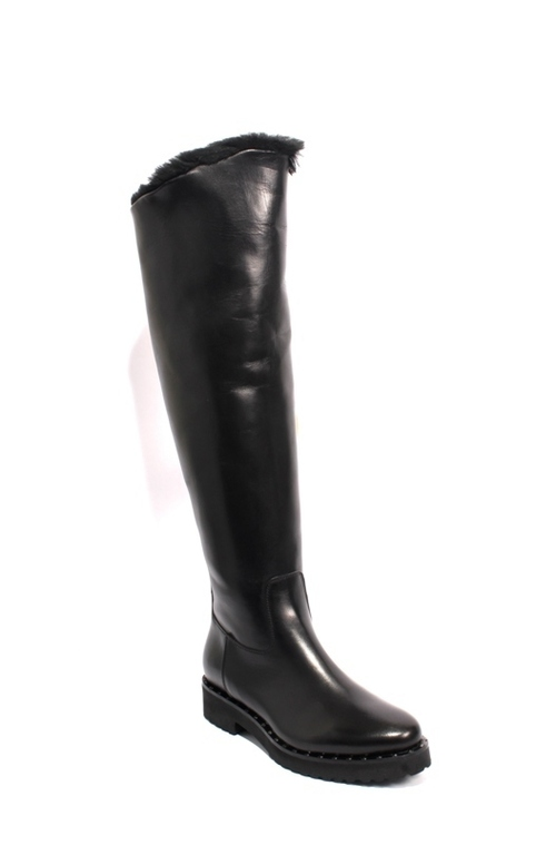 Black Leather Sheepskin Studs Zip Over-the-Kne Boots