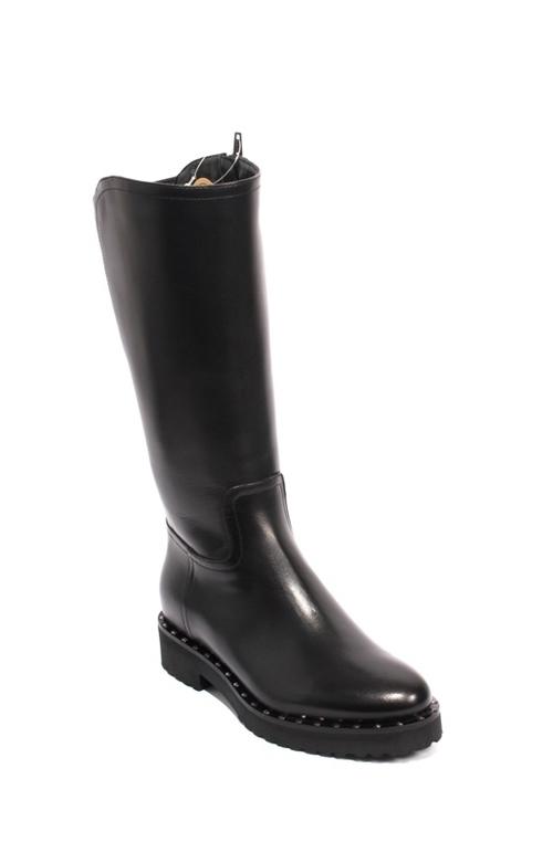 Black Leather Sheepskin Elastic Mid-Calf Zip Boots