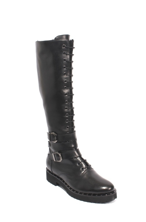 Black Leather Sheepskin Lace Zip Knee-High Boots