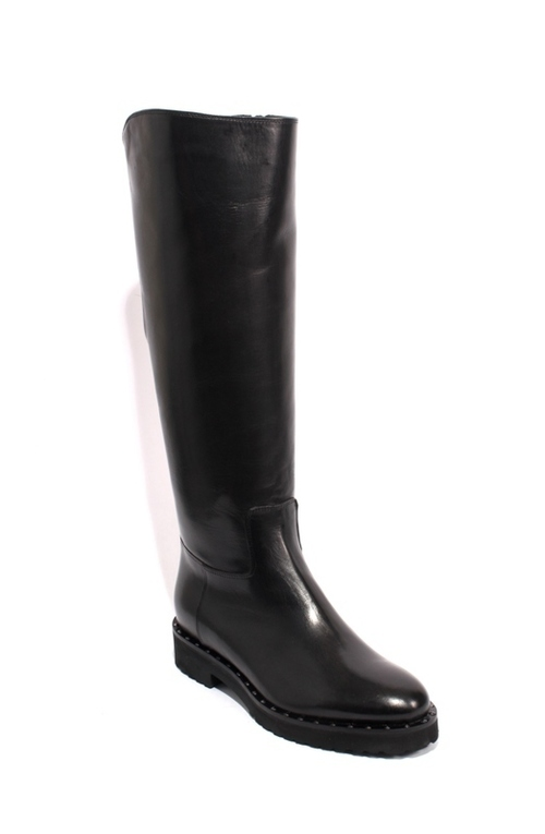 Black Leather Sheepskin Studs Zip Knee High Boots