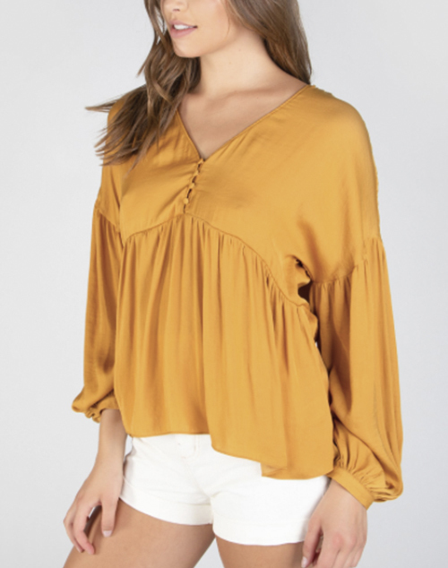Drop Shoulder Long Sleeve Blouse
