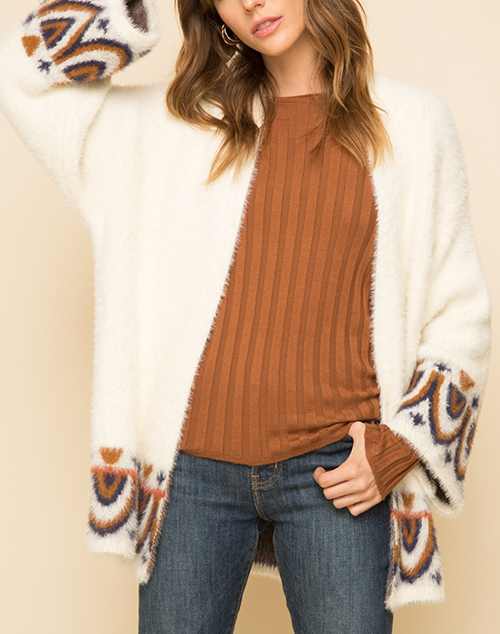 Chevron Graphic Bottom Sweater Cardigan
