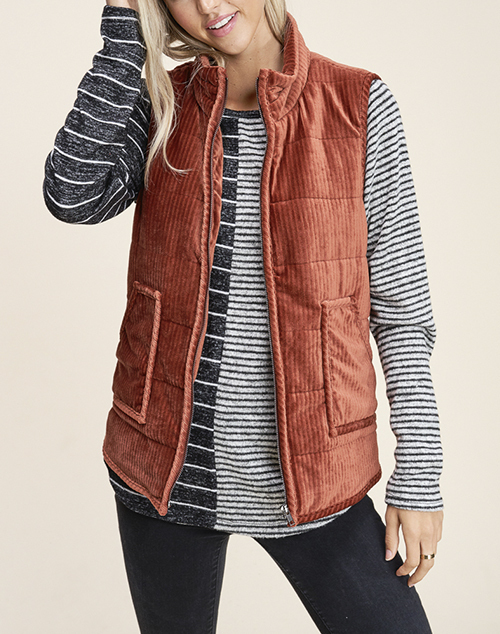 Knit Solid High Neck Zip Up Vest