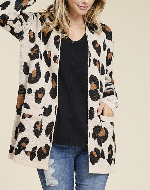 Leopard Open Cardigan With Pockets