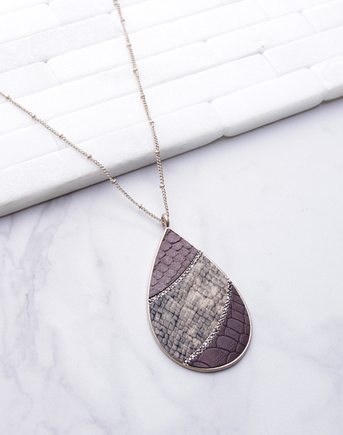 Teardrop Leather Pendant Necklace