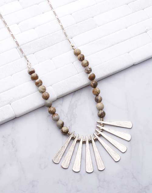 Sunburst Stone Long Necklace