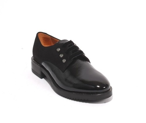 Black Patent Leather Suede Lace Studded Oxfords Shoes