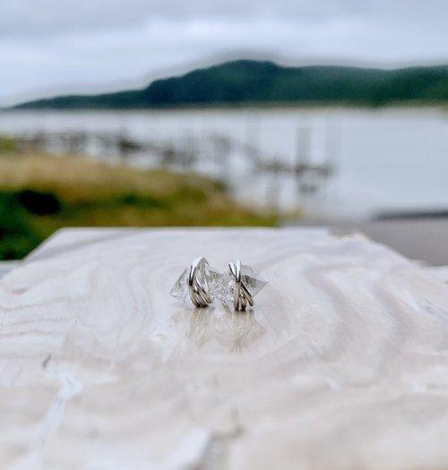 Herkimer Diamond Silver Studs