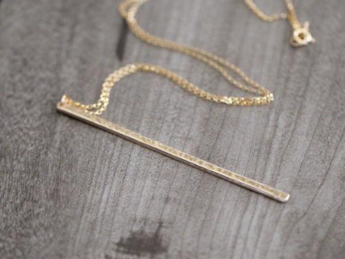 Gold Filled Long Bar Necklace