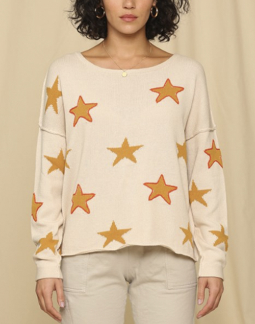Knit Star Sweater With Stitching Outline