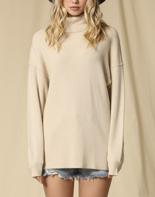 Long Sleeve Turtle Neck Tunic Sweater