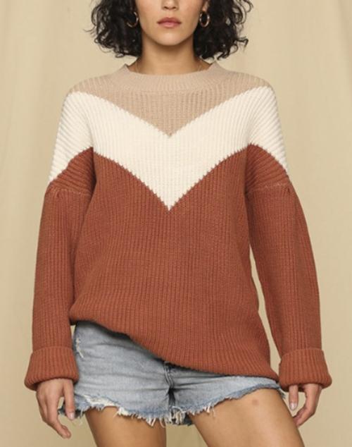 Long Sleeve V Print Sweater