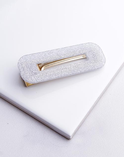Silver Glitter Rec Hair Clip