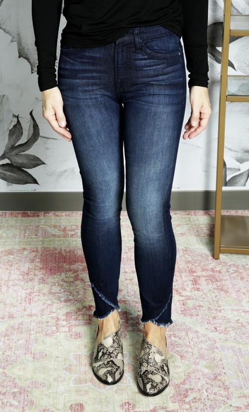 Jen7 Scallop Hem Ankle Skinny