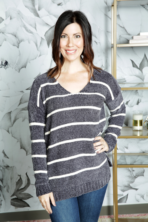 Chenille V Neck Stripe Sweater