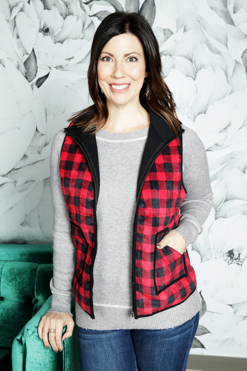 Marisa Gingham Plaid Corduroy Vest