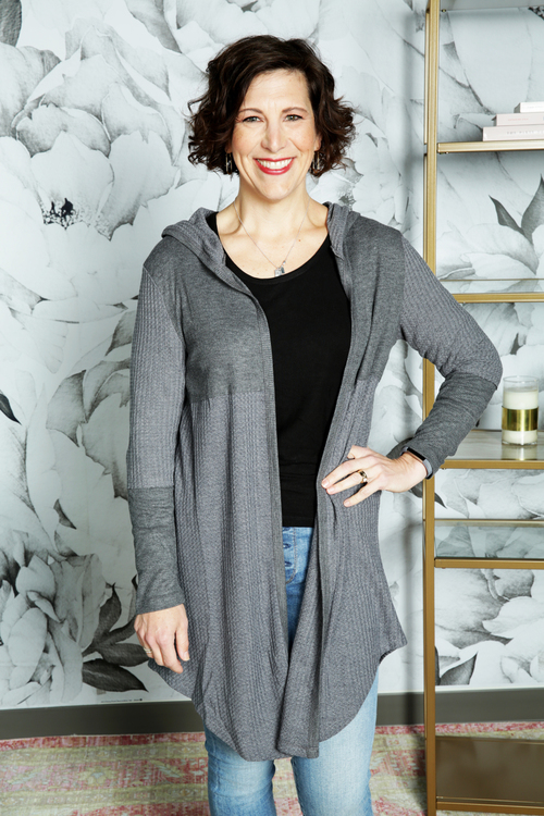 Grey Athleisure Hooded Duster