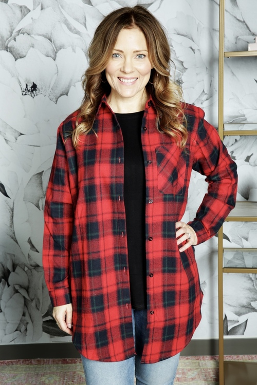 Longline Plaid Flannel Shirt Jacket