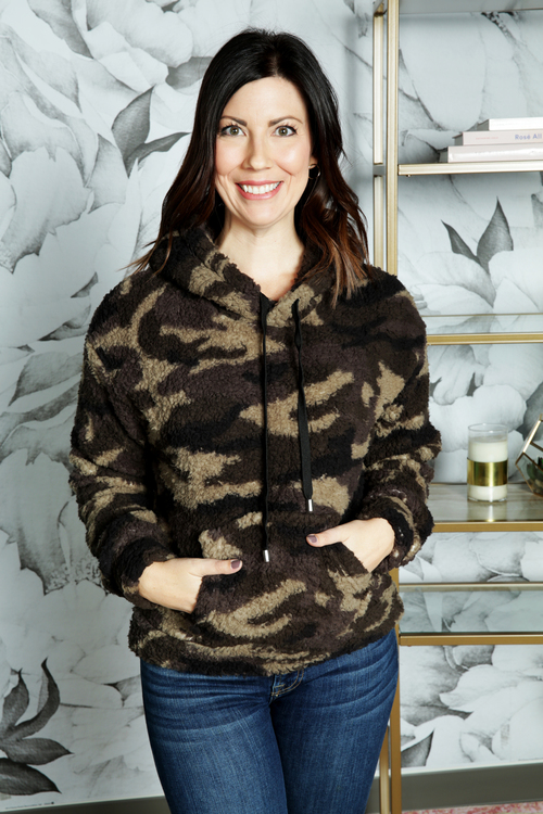 Camo Sherpa Fleece Hooded Sweater