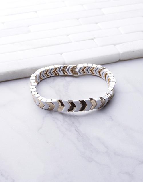 White & Gold V Lacquered Stretch Bracelet
