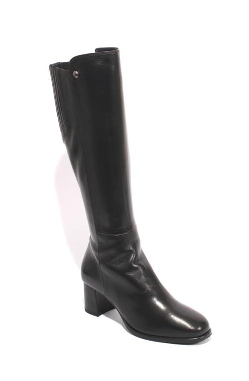 Black Leather Sheepskin Zip-Up Knee High Heel Boots