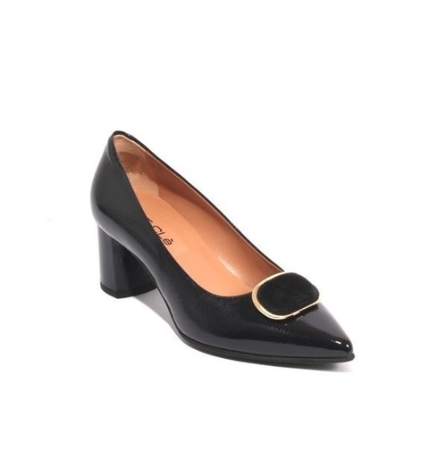 Dark Navy Patent Leather Pointed Buckle Heels Pumps
