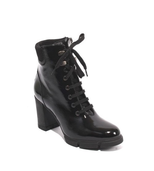 Black Patent Leather Zip Lace Ankle Heel Boots