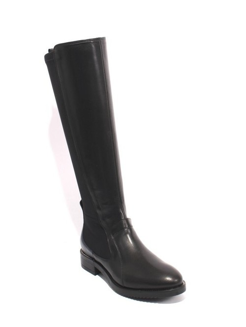 Black Navy Leather Stretch Knee-High Zip Riding Boots