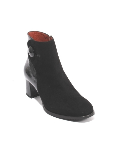 Black Suede / Patent Leather Zip-Up Ankle Heel Boots