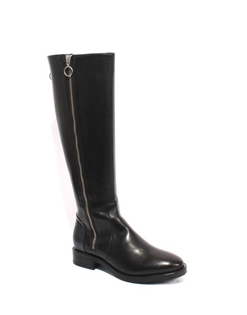 Black / Navy Leather Zip Knee High Studded Riding Boots