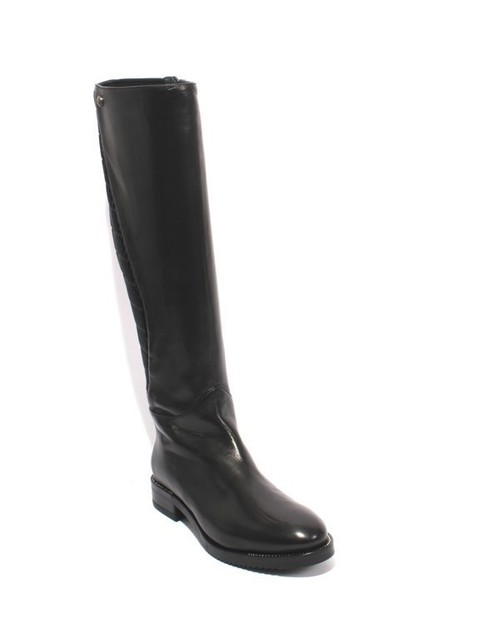 Black Navy Leather / Stretch Zip Knee High Riding Boot