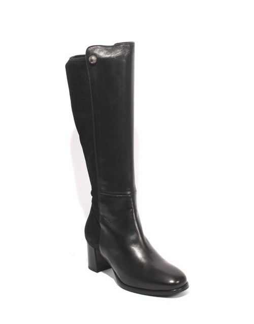 Black Leather / Stretch Zip-Up Knee High Heel Boots
