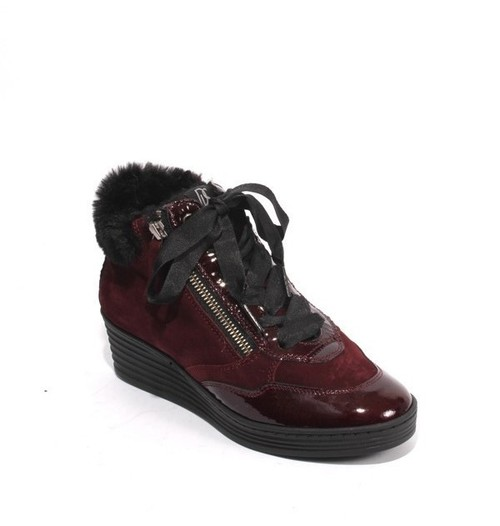 Burgundy Nubuck Leather Zip Lace Shearling Wedge Boots