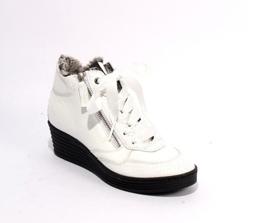 White Patent Leather Zip Lace Faux Fur Wedge Boots