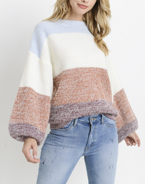 Colorblock Balloon Sleeve Sweater