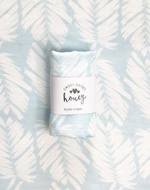 Blue Ice Palm Swaddle Blanket
