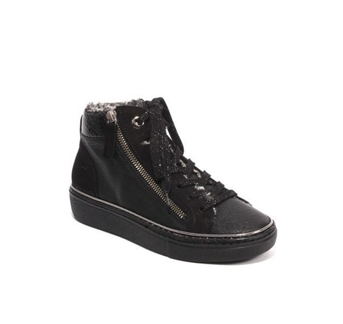 Black Leather Nubuck Zip Lace Faux Fur Sneakers Boots