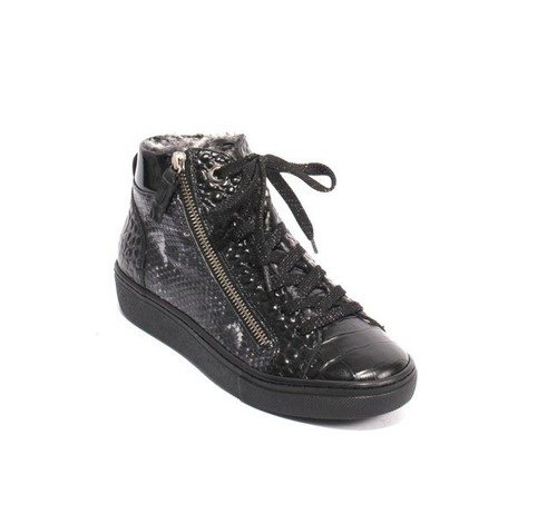 Black Leather Zip Lace Faux Fur Sneakers Boots