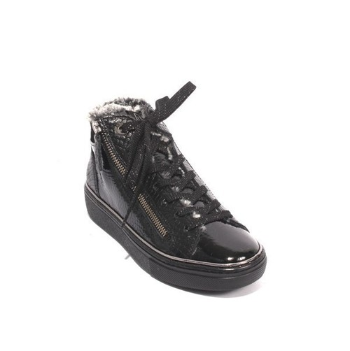 Black Patent Leather Zip Lace Faux Fur Sneakers Boots