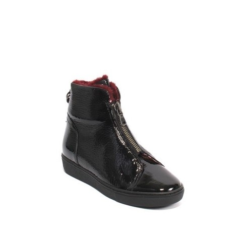 Black Burgundy Patent Leather Zip Shearling Boots