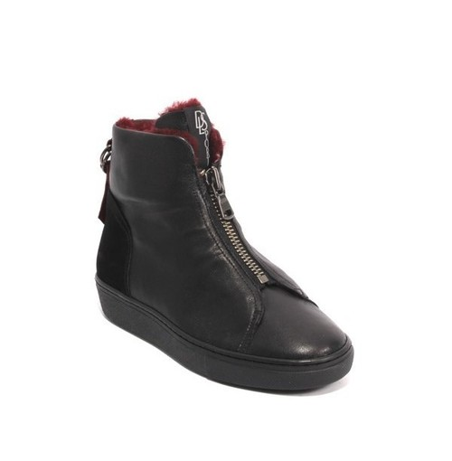 Black Burgundy Leather / Suede Zip Shearling Boots