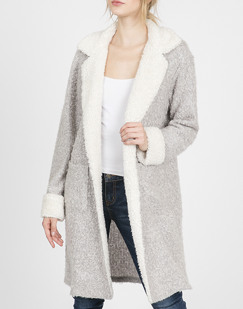 Fur Collar Long Sleeve Jacket