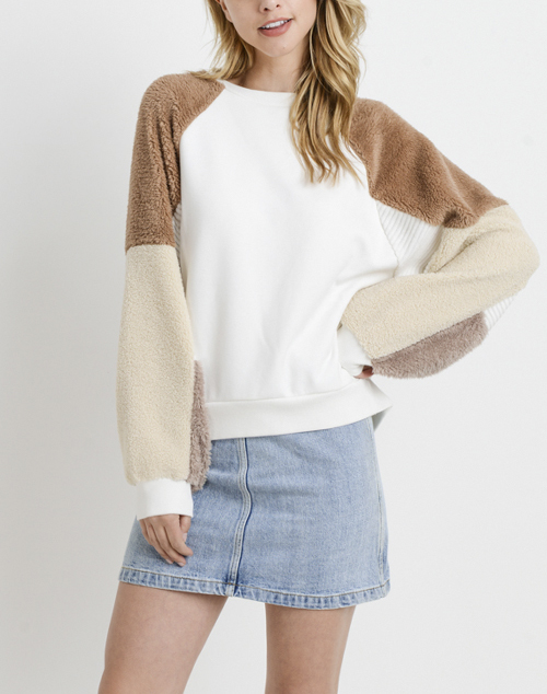 Contrast Fur Long Sleeve Sweater