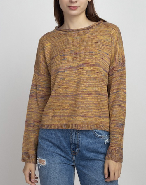 Wide Neck Ribbed Pullover