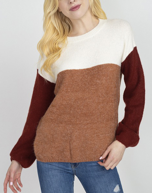 Cinched Bottom Color Block Sweater