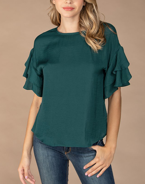 Double Ruffle Sleeve Blouse