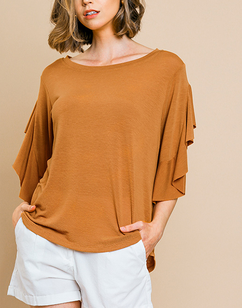 Split Ruffle Short Sleeve Top