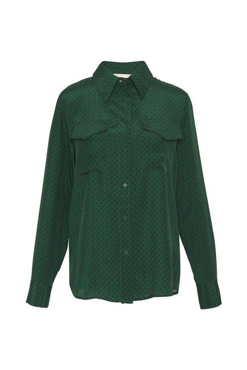 Button Down Silk Printed Shirt w/ Pocket