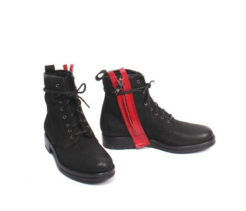 Black Red Nubuck Leather Lace-Up Zip-Up Ankle Boots